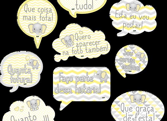 Kit Placas Elefantinho Amarelo