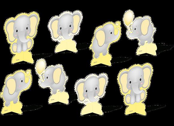 Kit Decoração de Mesa Elefantinho Amarelo