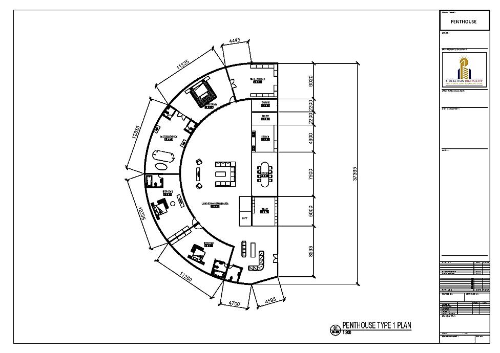 Interior Design Penthouse 1 @ Blockchain DigitalCity