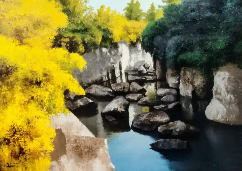 제주 용연, Oil on canvas, 90.9x65.1cm.