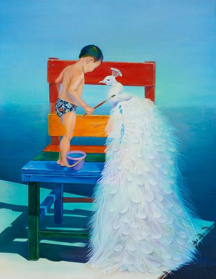 바다를 입혀줄게, 2019, Acrylic on canvas.