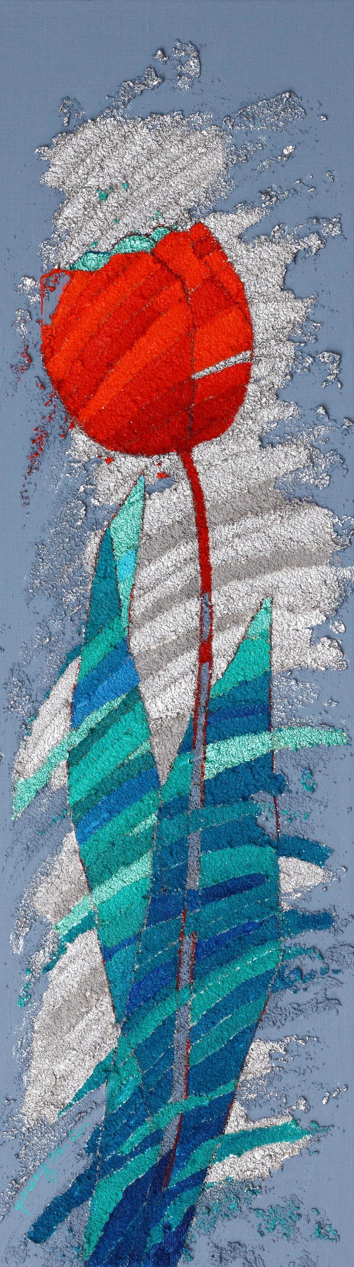 이영애_고맙다. 봄.  18.0 × 62.5 ㎝  Mixed media on canvas.