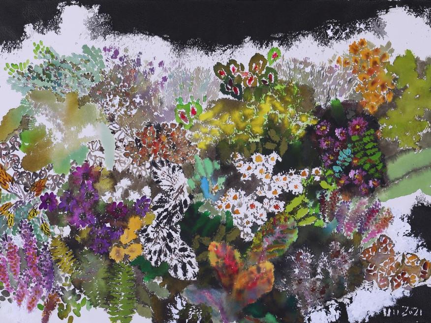 정우범. Fantasia, Aqua, Acrylic, India ink, Arches canvas, 90x65cm. 2021.
