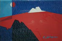 최예태, 붉은산의 판타지, Mixed Media, 22.3 x 15.6cm. 2019.