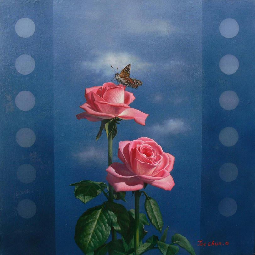 오재천, 장미, 90x 90cm, oil on canvas, 2016.