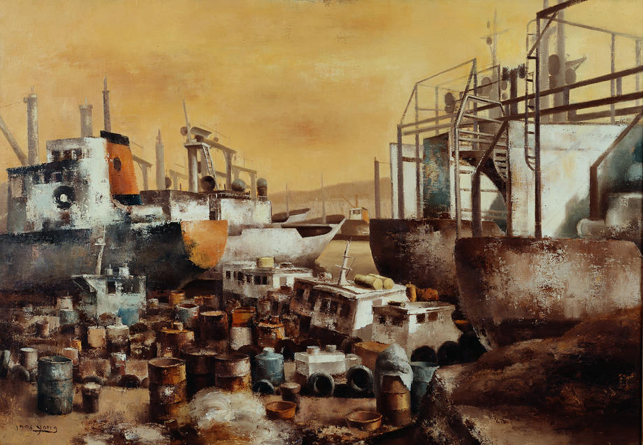부산항, Oil on canvas, 162.2x130.3cm.