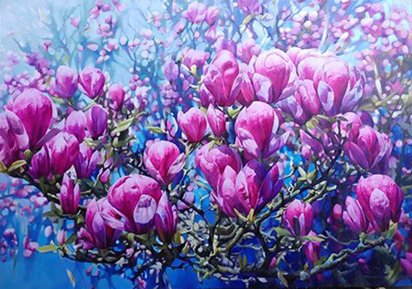 다시피어 나는 생(生) - 자목련 250×181(200호P) oil on canvas.