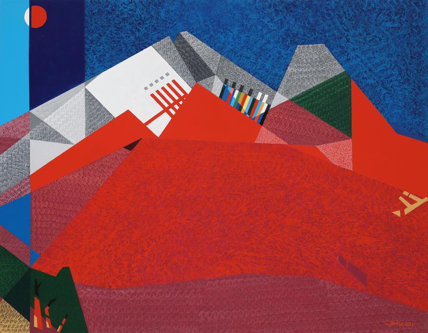 7. 붉은산의환타지A, mixed media, 162.2x130.3cm