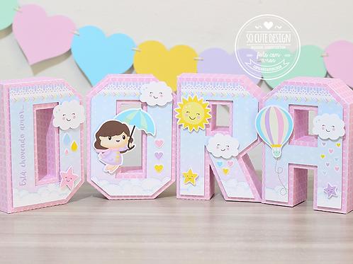 Letras 3D Chuva de Amor