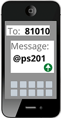 Send a text message to 81010 with the phrase, @ps201 written in the message.