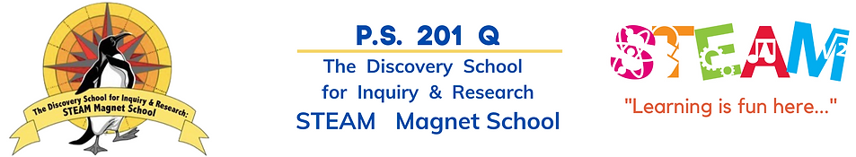 PS 201 Q The Discovery School for Inquiry and Research STEAM Magnet School Logo
