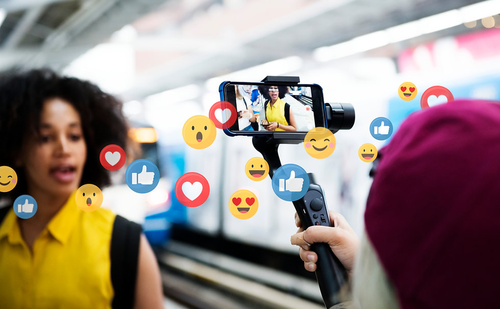 Vlogger streaming a live video live at a