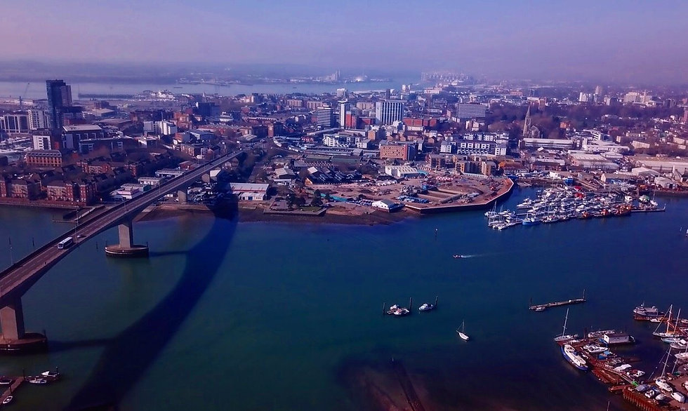 Aerial view over Southampton