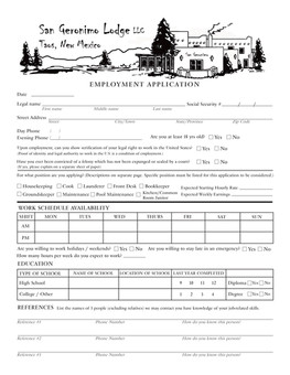 San Geronimo Lodge Employment Application