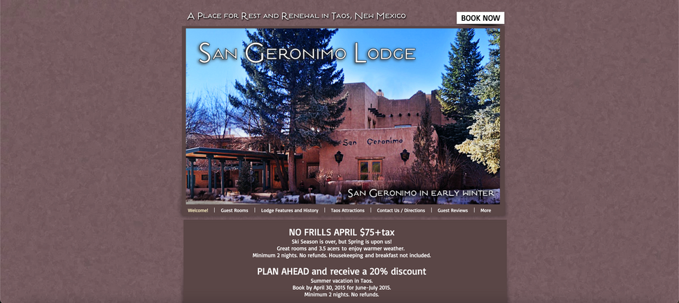 San Geronimo Lodge Start-up Website