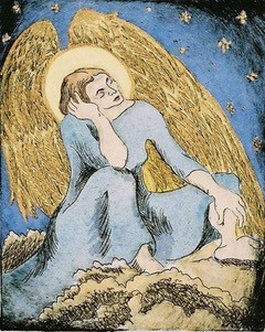 Etching - Hand Colored slumbering angel