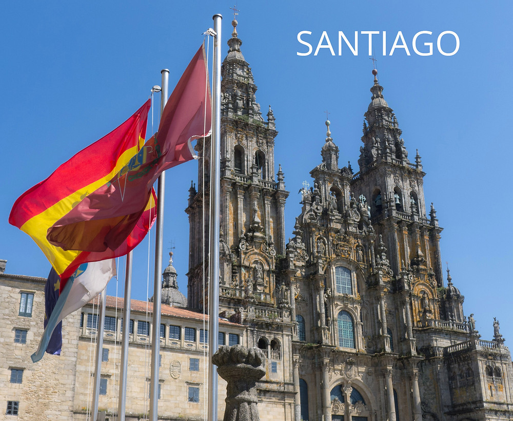 Cathedral Santiago with flags