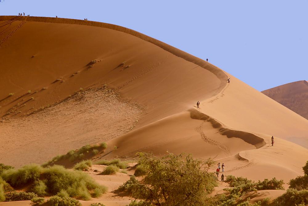 Climbing sand dune at Sossusvlei, Namibia