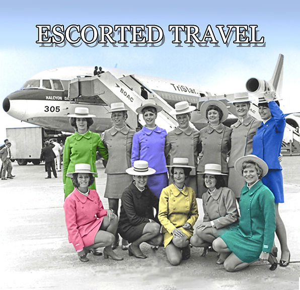 Stewardesses with Tristar 305 airplane