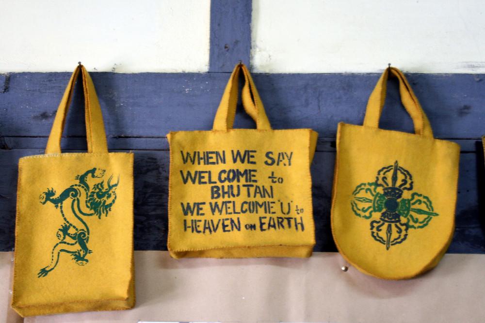 Bhutan welcome saying on handbag