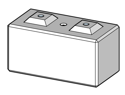 600h x 600w x 1200l interlocking block with grout tube