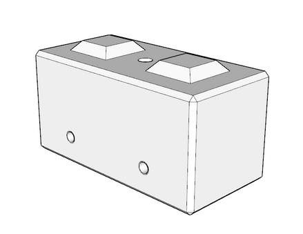 600h x 600w x 1200l interlocking block with drainage conduit