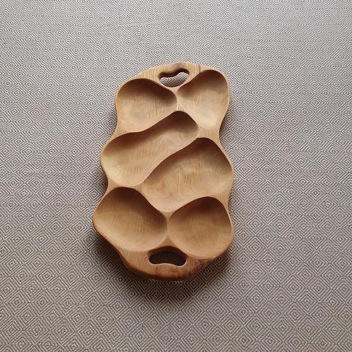 6 dalių padėklas iš beržo (60 cm)