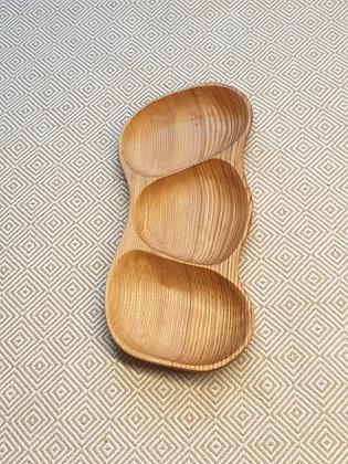 3-piece ash-wood tray (36 cm)