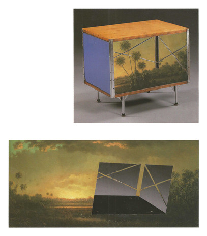 Todd Bartel Witness 7 a & b Charles and Ray Eames for Herman Miller Furniture Co., Zeeland, MI, ESU Storage Unit 150-C Designed 1949-50, Produced 1950-55 with Martin Johnson Heade's Sunrise, FL, c. 1890 4 1/8 x 4 1/2 in. unframed Negative Space and Shelf of Charles and Ray Eames for Herman Miller Furniture Co., Zeeland, MI, ESU Storage Unit 150-C Designed 1949-50, Produced 1950-55 Set Into Martin Johnson Heade's Sunrise, FL, c. 1890 3 1/8 x 6 3/4 in. unframed 2005 burnished interlocking collage, auction house catalog cuttings,    watercolor, document repair tape