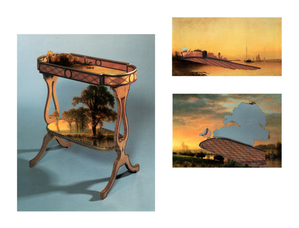 Todd Bartel Witness 14 a, b, & c Unknown Antique Decorative Serving Table with Fragments from Francis A. Silva's A Midsummer's Twilight, and Fragments from Albert Bierstadt's Western Kansas 10 1/2 x 8 in. unframed A. Silva's A Midsummer's Twilight with Tray Fragments from an Unknown Antique […] 3 1/2 x 6 1/3 in. unframed Albert Bierstadt's Western Kansas […] and Some Negative Space—A Twister for Dorothy 4 1/3 x 6 1/3 in. unframed 2021 burnished interlocking collage, auction house catalog cuttings, watercolor, document repair tape
