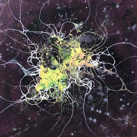 Mark M Garrett  Orchid Nebulae A 2019 cut map collage & gouache 16 1/2 x 16 in. framed