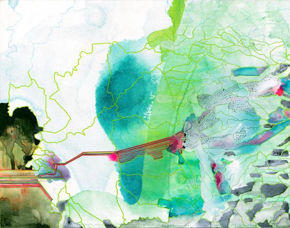 Hughen/Starkweather Narrow Defile (Aqueduct) 2021 ink, gouache, acrylic paint & pencil on wood panel 11 x 14 in. unframed