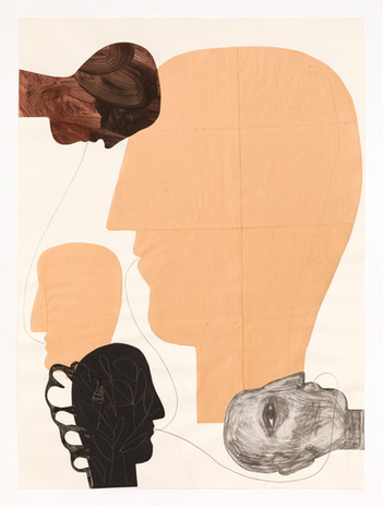Cécilia Andrews Faces Series 5 2019  collage on paper 32 3/4 x 25 in. framed courtesy Municipal Bonds