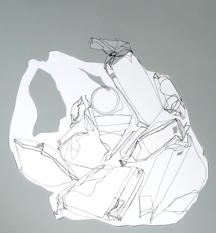 Dora Lisa Rosenbaum Paper or Plastic? 2008 ink drawing on Denril film cutouts 22 1/4 x 30 1/4 in. framed