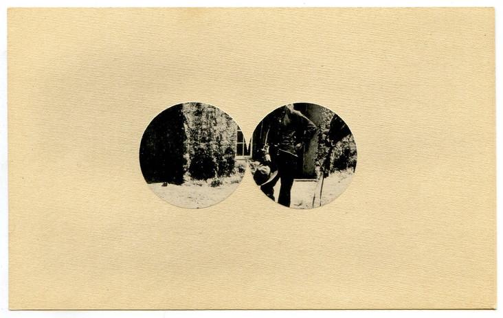 Ajit Chauhan ambos mundos (both worlds) 2021 erased postcard 4 x 6 in. unframed  courtesy Anglim/Trimble