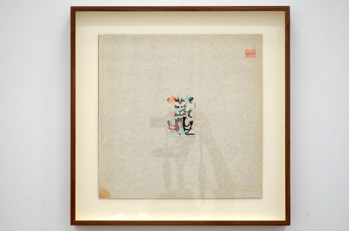 Ajit Chauhan Death & Transfiguration, Strauss 2019 erased record cover 16 3/8 x 16 3/8 in. framed courtesy Anglim/Trimble