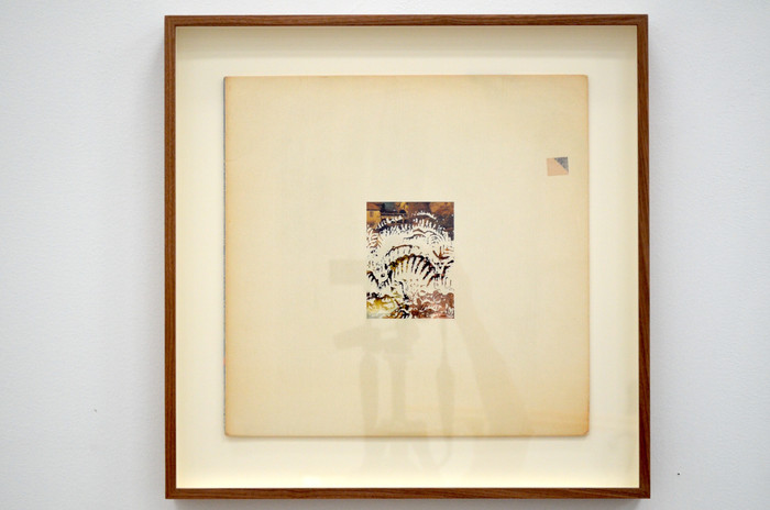Ajit Chauhan The Four Seasons 2019 erased record cover 16 3/8 x 16 3/8 in. framed courtesy Anglim/Trimble