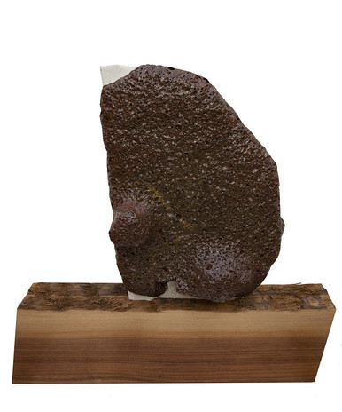 Rachelle Reichert Mine Melt 2019 ceramic hand-extracted from Nevada, wood, silicon carbide 23 x 22.5 x 9 in.