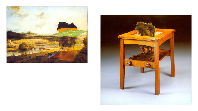 Todd Bartel Witness 12 a & b Extensive Landscape with a River and Mountains in the Distance, Attributed to Jacob Konica I, circa 1653, with Remnants from An Important Twelve-tile, Oak Tea Table by Gustav Stickley & Grueby Faience Co. circa 1902 4 1/2 x 6 1/2 in. unframed An Important Twelve-tile, Oak Tea Table by Gustav Stickley & Gruby Faience Co. circa 1902, with Landscape Attributed to Jacob Konica I circa 1653   7 1/4 x 7 1/4 in. unframed 2018 burnished interlocking collage, auction house catalog cuttings, watercolor, document repair tape