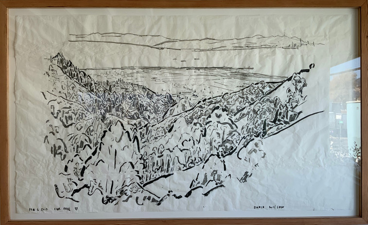 David Wilson Feb 6, Claremont Canyon, for Paul 2018 sumi ink on paper 61 x 99 in.   artist-built frame