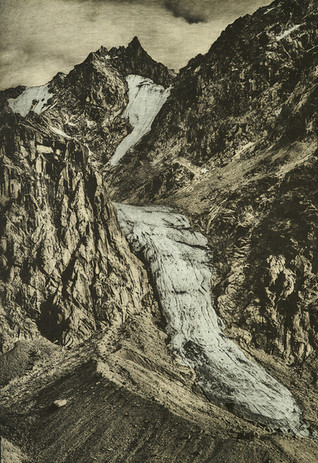 Todd Anderson The Sandcastle  from the artist's book The Last Glaciers of Akshayuk Pass, Vol. I 2021 photopolymer gravure on Crown Kozo washi paper edition of 20 26 3/4 x 18 5/8 in. framed