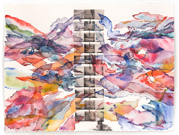 Daniela Naomi Molnar New Earth 5 (Pipeline / Western United States) 2018 natural and synthetic pigments and rainwater on paper  22 1/2 x 30 in. unframed