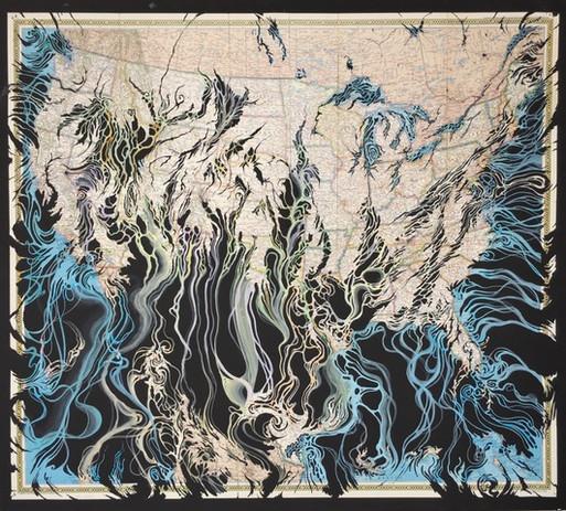 Mark M Garrett Shibbolith 2017 cut map collage & gouache 40 1/2 x 45 1/4 in. framed
