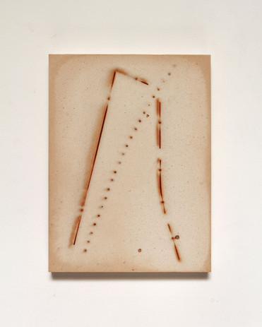 Andy Vogt Fault (arc) 2020 plaster and steel 8 1/2 x 6 1/4 in. framed
