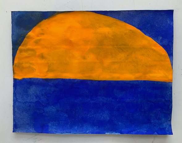Suzan Frecon orange and bluebird blues illumination 2021 watercolor on agate burnished Indian ledge rag paper 11 x 13 in. framed courtesy the artist & David Zwirner Gallery frame courtesy Sterling Art Services