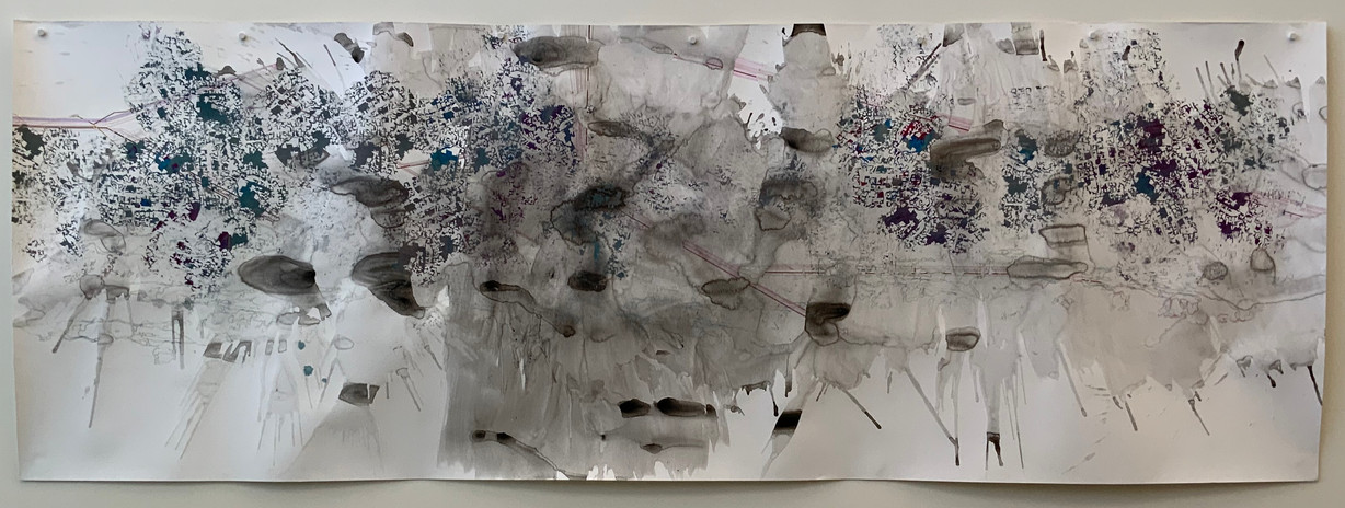 Hughen/Starkweather Where Nature Had Not Intended 2021 ink & pencil on paper 42 x 120 in. unframed