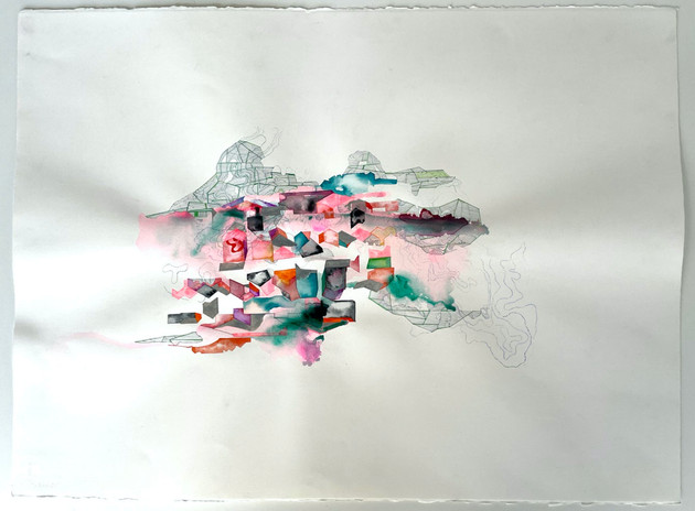 Hughen/Starkweather The Disappeared Hill (Potrero) 2021 ink, gouache, acrylic paint & pencil on paper 22 x 30 in. unframed