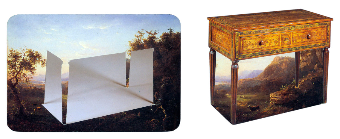 Todd Bartel Witness 10 a & b In the Shadow of Man — Negative Space Beneath An Italian Walnut, Marquetry, Crossbanded, and Strung Side Table Set Within Regis Francois Gignoux's View of the Hudson River Valley 1849 3.125 x 6.75 inches Pastoral Landscape with Side Table Still Life — Regis Francois Gignoux's View of the Hudson River Valley 1849                                                  Beneath An Italian Walnut, Marquetry, Crossbanded, and                                                               Strung Side Table 4.125 x 4.5 inches  2010 burnished interlocking collage, auction house catalog cuttings, watercolor, document repair tape