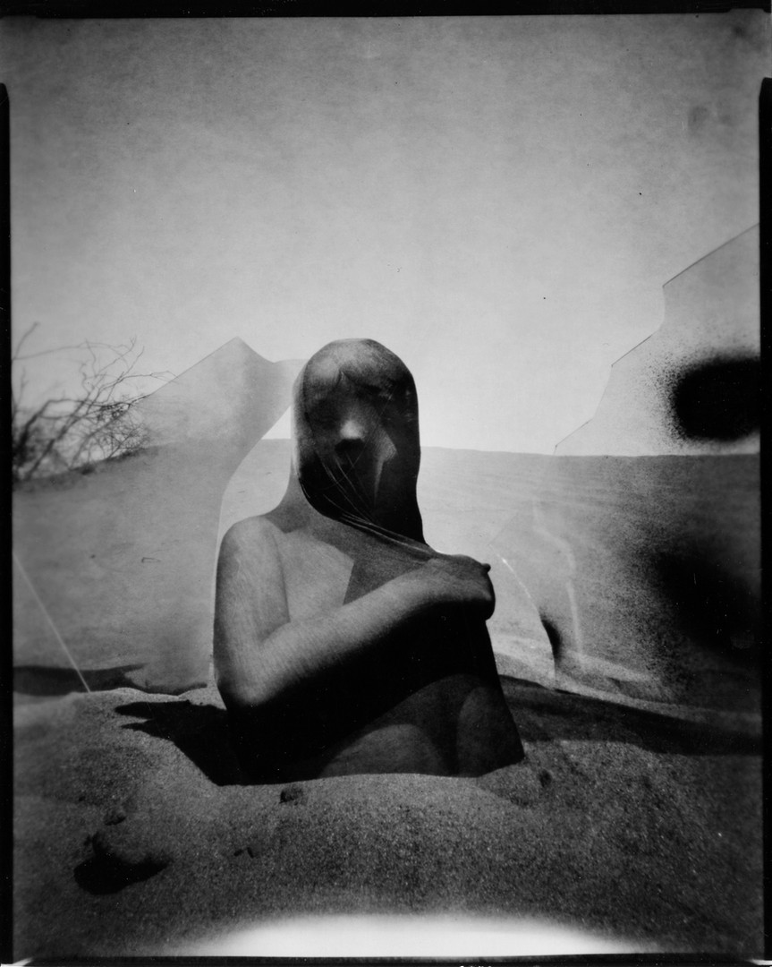 Vanessa Woods The Road in the Sand 2020 silver gelatin contact print from pinhole paper negative                                         8 x 10 in.  edition of 8 courtesy of Jack Fischer Gallery
