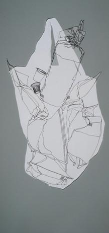 Dora Lisa Rosenbaum Paper or Plastic? 2008  ink drawing on Denril film cutouts 30 ½ x17 1/4 in. framed